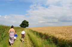 Walking along country path Stock Photos