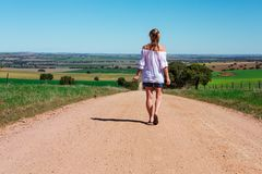 Walking along country roads royalty free stock photos