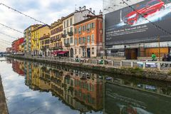 Walking along Grande Canale. Grande Canale district in Milan, Italy stock image