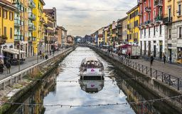 Walking along Grande Canale. Grande Canale district in Milan, Italy royalty free stock photography