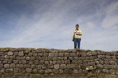 Walking Along Hadrians Wall Royalty Free Stock Photo