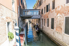 Walking along the narrow streets and canals of Venice, Italy royalty free stock photography