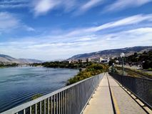 Walking along the paths of the North Thompson river in Kamloops, british columbia on a beautiful sunny fall day royalty free stock images