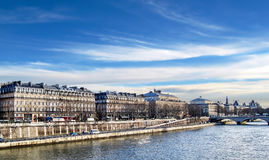 Walking along the Seine, Paris. Royalty Free Stock Photography