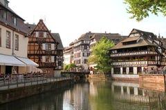 Walking along Strasbourg canal Stock Image