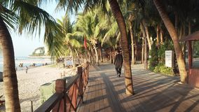 Walking along the tourist promenade with palm trees on Dadonghai beach at dawn time lapse stock footage video. Sanya, China - April 05, 2017: Walking along the stock video