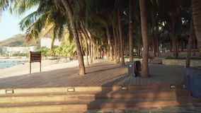 Walking along the tourist promenade with palm trees on Dadonghai beach at dawn time lapse stock footage video. Sanya, China - April 05, 2017: Walking along the stock video footage