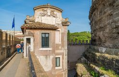 Walking along the walls of Castel Sant`Angelo in Rome, Italy. stock images
