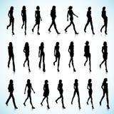 Walking at angle women Stock Image