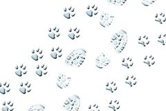 Walking with animals. Someone walking two (2) animals, a cat and a dog. Light blue shoe and paw prints diagonal, embossed on a white background Royalty Free Stock Image