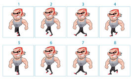 Walking animation of a cartoon angry character in 8 frames in lo Royalty Free Stock Photo