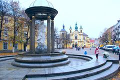 Walking area in Ivano-Frankivsk with a view of the Church of Virgin Mary Royalty Free Stock Image