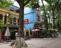 Hanoi old Town. Biuilding and the city life. Travel in Ha Noi Ci Royalty Free Stock Image
