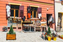 Walking around the historic town Sighisoara. City in which was born Vlad Tepes, Dracula Stock Photo