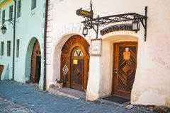 Walking around the historic town Sighisoara. City in which was born Vlad Tepes, Dracula Stock Photos