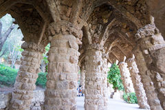 Walking around Park Guell in Barcelona Stock Photos