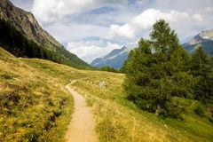 Walking around Sils lake - Upper Engadine Valley - Switzerland Stock Image