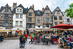 Walking around Tours. At the narrow streets of Tours town. France Royalty Free Stock Image