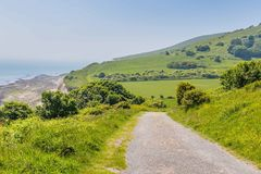 Walking aroundthe hills of Eastbourne, United KIngdom. Beachy head near Eastbourne, Sussex, United Kingdom Stock Photography