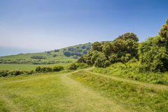 Walking aroundthe hills of Eastbourne, United KIngdom. Walking to Beachy head near Eastbourne, Sussex, United Kingdom Stock Photography