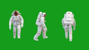 Walking astronaut motion graphics with green screen background