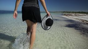 Walking on Australia Beach. Low angle view of a woman walking on the seashore of pristine and white sand in Hangover Bay, Nambung National Park, Western stock video footage