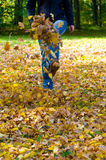 Walking through the autumn leaves Stock Photography