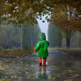 Walking in autumn rainy park Stock Images