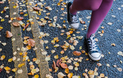 Walking by autumn street Royalty Free Stock Images