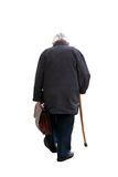 Walking away .... Old man holding a suitcase walking away - on white background (isolated Stock Photography