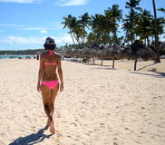 She is walking away on the beach royalty free stock photography