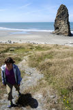 Walking Away from Cape Blanco Rock Stock Image