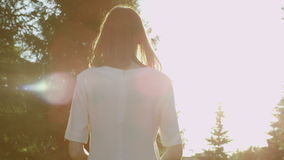 Walking away in park. Back view of woman walking away in the summer park stock footage
