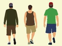 Walking Away. Three young men wearing shorts walking away vector illustration