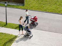 Walking with babies. Two mammies walking with babies Royalty Free Stock Photo