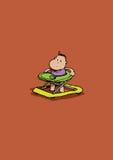 Walking baby. Baby walking with walker in cartoon style Vector Illustration