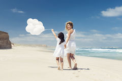 Walking with ballons royalty free stock photography
