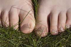 Walking barefoot in grass stock photos