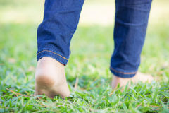 Walking barefoot Royalty Free Stock Photo