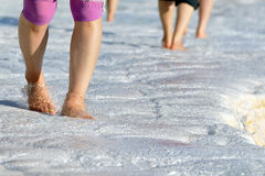 Walking barefoot in the water at Pamukkale Stock Photo