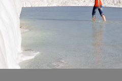 Walking barefoot in the water at Pamukkale Royalty Free Stock Photography
