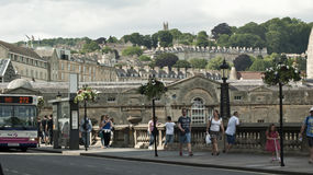 Walking in Bath Spa, England. A very busy and atractive part of Bath Spa,  is the riverside across the river Avon in central Bath Stock Photo