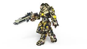 Walking battle robot. 3D CG rendering of a walking battle robot royalty free illustration