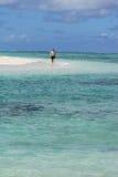 Walking at the beach. Man walking at the beach on mauritius Stock Photos