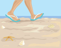 Walking on the beach. A hand drawn illustration of feet in flip flops walking along a sandy beach with sea and blue sky Stock Photos