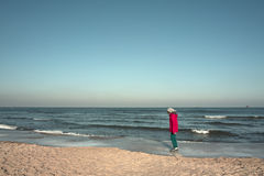 Walking on the beach. Royalty Free Stock Image