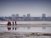 Walking at the beach. Family walking at the beach Royalty Free Stock Photography