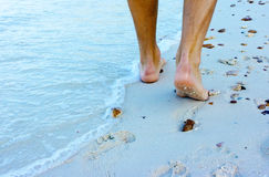 Walking on the beach. Male feet walking on the sandy beach Stock Image