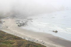 Walking on the Beach in the Fog Stock Image