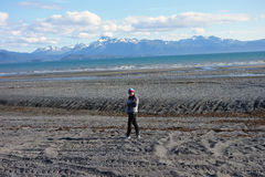 Walking on the beach at homer when the tide is out Royalty Free Stock Photography